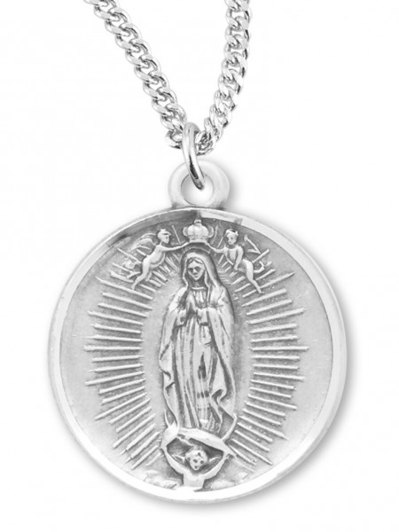 "Women's Our Lady of Guadalupe Necklace, Sterling Silver with Chain Options - 18"" 2.1mm Rhodium Plate Chain + Clasp"