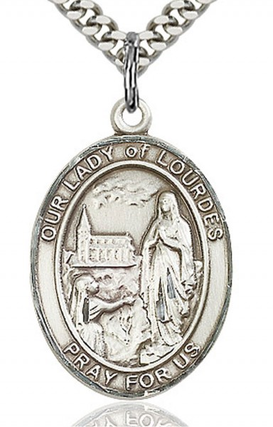 "Our Lady of Lourdes Medal, Sterling Silver, Large - 24"" Sterling Silver Chain + Clasp"