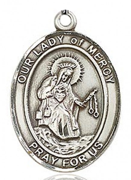 Our Lady of Mercy Medal, Sterling Silver, Large - No Chain