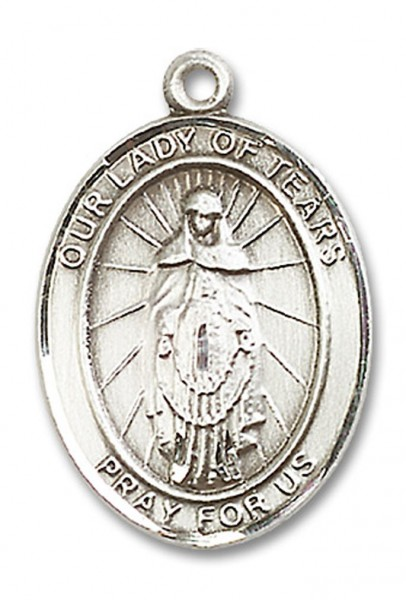 Our Lady of Tears Medal, Sterling Silver, Large - No Chain