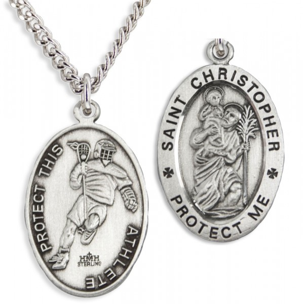"Oval Men's Saint Christopher Lacrosse Necklace - 24"" Sterling Silver Chain + Clasp"