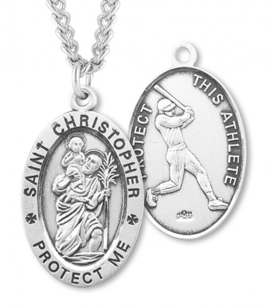 "Men's Sterling Silver Saint Christopher Baseball Oval Necklace - 24"" Sterling Silver Chain + Clasp"