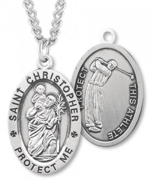 "Oval Boy's St. Christopher Golf Necklace With Chain - 24"" 2.4mm Rhodium Plate Endless Chain"