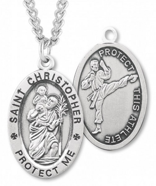 "Oval Boy's St. Christopher Martial Arts Necklace With Chain - 20"" 2.25mm Rhodium Plated Chain with Clasp"