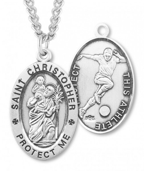 "Oval Boy's St. Christopher Soccer Necklace With Chain - 24"" Sterling Silver Chain + Clasp"
