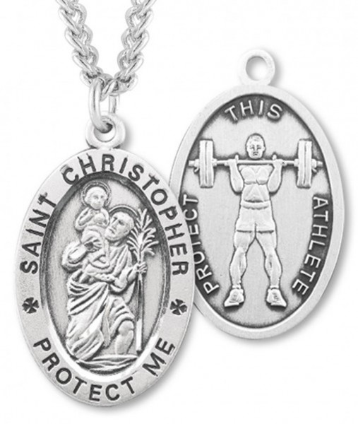 "Oval Boy's St. Christopher Weight Lifting Necklace With Chain - 24"" 2.4mm Rhodium Plate Chain + Clasp"
