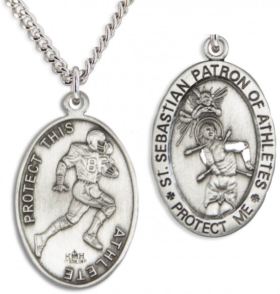 "Oval Men's St. Sebastian Football Necklace With Chain - 24"" 2.4mm Rhodium Plate Endless Chain"