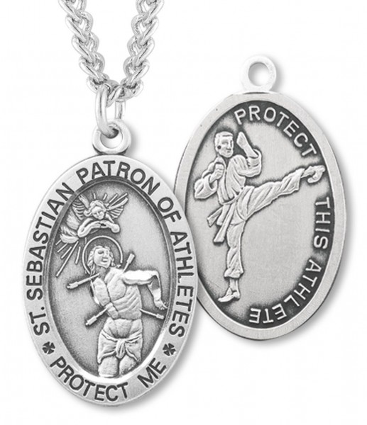 "Oval Boy's St. Sebastian Martial Arts Necklace With Chain - 24"" Sterling Silver Chain + Clasp"