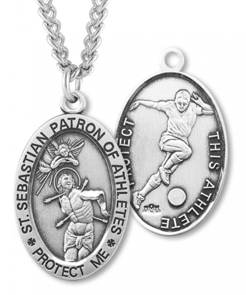 "Men's Sterling Silver Saint Sebastian Soccer Oval Necklace - 24"" 2.4mm Rhodium Plate Endless Chain"