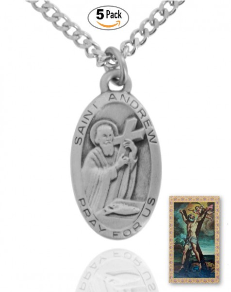 Oval St. Andrew Medal and Prayer Card Set - Pack of 5