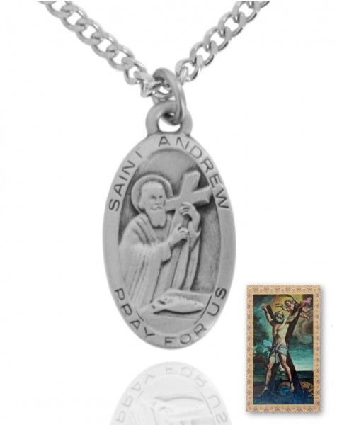 Oval St. Andrew Medal and Prayer Card Set - Silver-tone