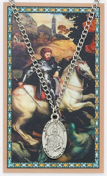 Oval St. George Medal  and Prayer Card Set - Silver-tone