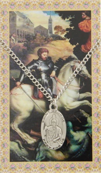 Oval St. George Medal  and Prayer Card Set - Pack of 5