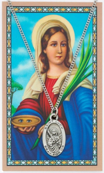 Oval St. Lucy Medal and Prayer Card Set - Silver-tone