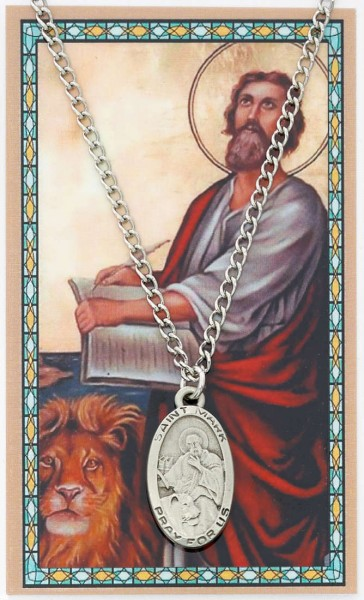 Oval St. Mark Medal and Prayer Card Set - Silver-tone
