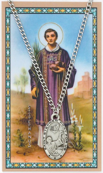 Oval St. Stephen Medal and Prayer Card Set - Silver-tone