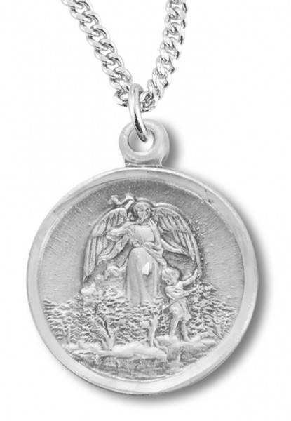 "Women's Sterling Silver Small Round Guardian Angel w/ Child Necklace with Chain Options - 20"" 2.25mm Rhodium Plated Chain with Clasp"