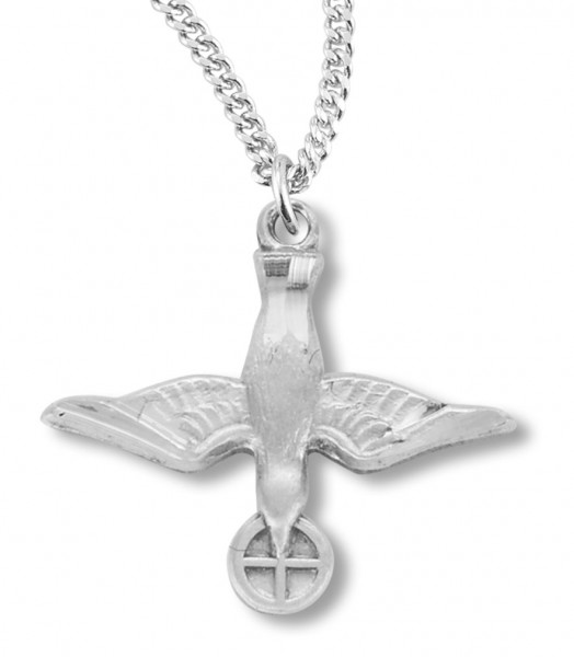 "Women's Sterling Silver Dove with Holy Eucharist Necklace with Chain Options - 18"" 2.1mm Rhodium Plate Chain + Clasp"