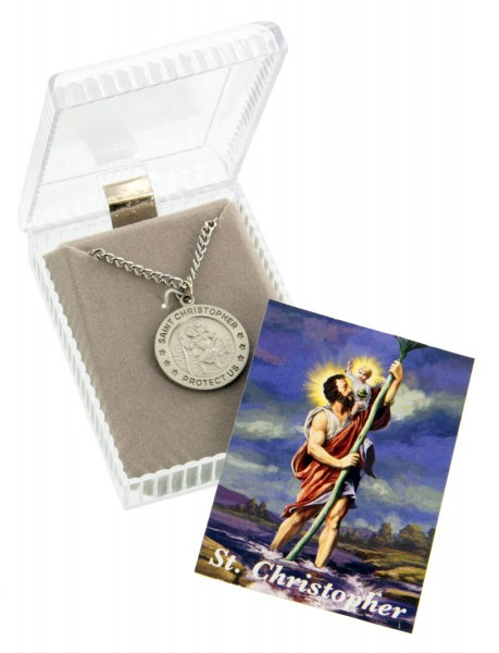 "Pewter Round Saint Christopher Pendant with Prayer Card - 24"" 2.4mm Rhodium Plate Chain + Clasp"
