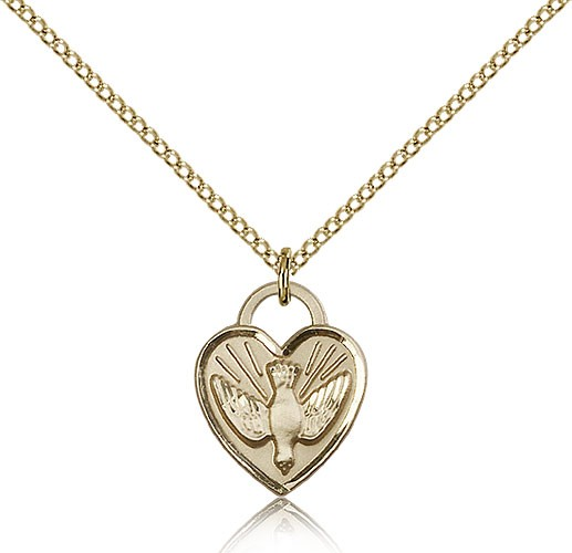 Confirmation Heart Medal, Gold Filled - Gold-tone