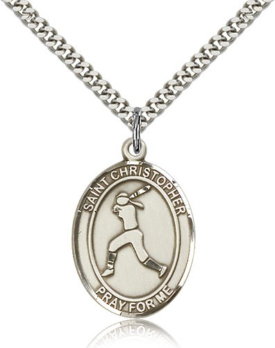 "St. Sebastian Softball Medal, Sterling Silver, Large - 24"" 2.4mm Rhodium Plate Chain + Clasp"