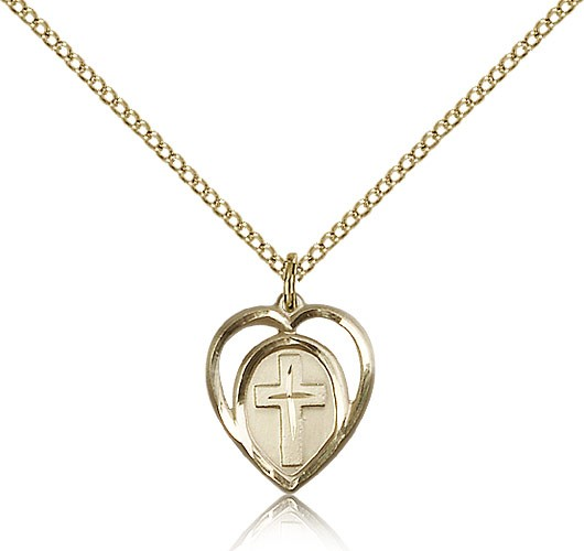 Heart Cross Pendant, Gold Filled - Gold-tone
