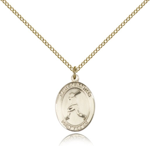 St. Sebastian Baseball Medal, Gold Filled, Medium - Gold-tone