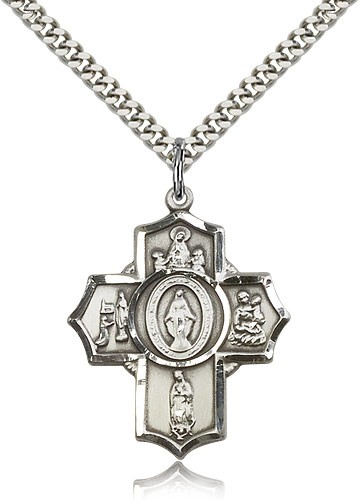 "Apparitions Medal, Sterling Silver - 24"" 2.4mm Rhodium Plate Endless Chain"