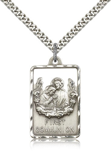 "Communion First Reconciliation Medal, Sterling Silver - 24"" 2.4mm Rhodium Plate Endless Chain"