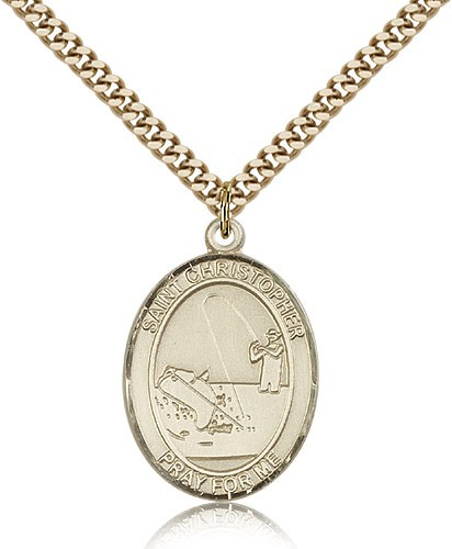 "St. Christopher Fishing Medal, Gold Filled, Large - 24"" 2.4mm Gold Plated Chain + Clasp"
