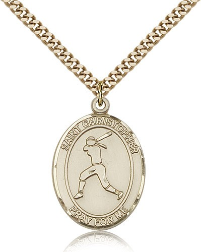 "St. Christopher Softball Medal, Gold Filled, Large - 24"" 2.4mm Gold Plated Chain + Clasp"