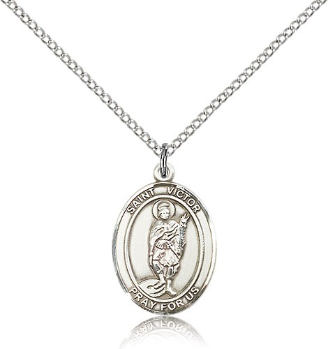 "St. Victor of Marseilles Medal, Sterling Silver, Medium - 18"" 1.2mm Sterling Silver Chain + Clasp"