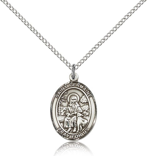 "St. Germaine Cousin Medal, Sterling Silver, Medium - 18"" 1.2mm Sterling Silver Chain + Clasp"