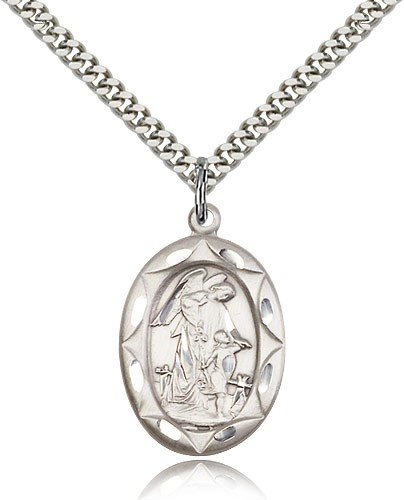 "Guardian Angel Medal, Sterling Silver - 24"" Rhodium Plate Endless Chain"
