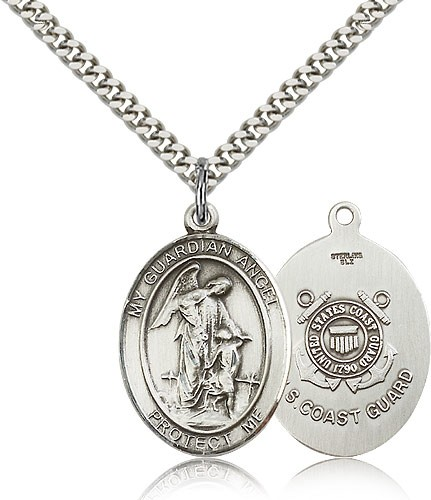 "Guardian Angel Coast Guard Medal, Sterling Silver, Large - 24"" Rhodium Plate Chain + Clasp"