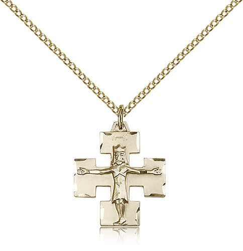 Modern Crucifix Pendant, Gold Filled - Gold-tone