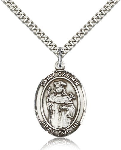 "St. Casimir of Poland Medal, Sterling Silver, Large - 24"" 2.4mm Rhodium Plate Chain + Clasp"