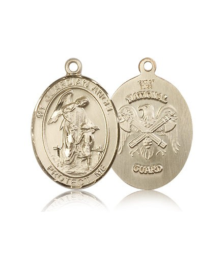 Guardian Angel National Guard Medal, 14 Karat Gold, Large - 14 KT Yellow Gold