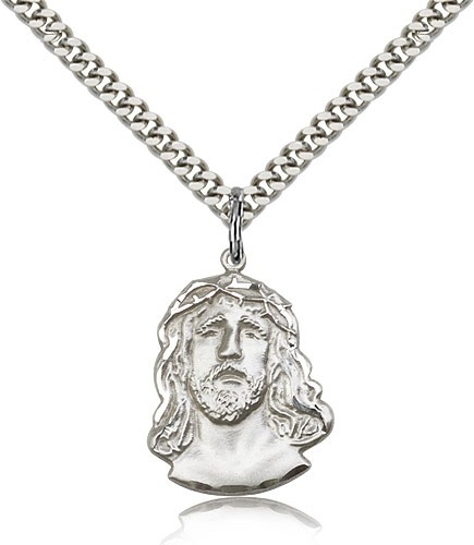 "Ecce Homo Medal, Sterling Silver - 24"" 2.4mm Rhodium Plate Endless Chain"