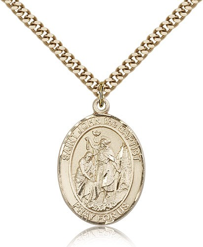 St. John the Baptist Medal, Gold Filled, Large - Gold-tone