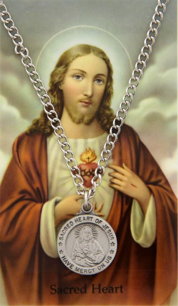 Round Sacred Heart Medal and Prayer Card Set - Silver-tone