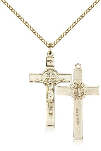 Women's 14 Karat Gold Filled St. Benedict Crucifix Pendant - Gold-tone
