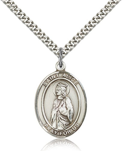 "St. Alice Medal, Sterling Silver, Large - 24"" 2.4mm Rhodium Plate Chain + Clasp"