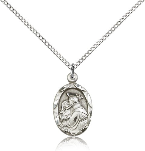 "St. Anthony of Padua Medal, Sterling Silver - 18"" 1.2mm Sterling Silver Chain + Clasp"