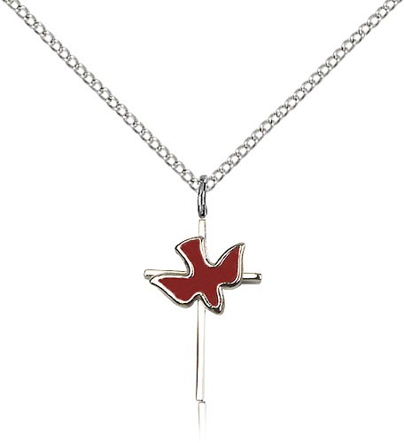 "Holy Sprit Cross Pendant, Sterling Silver - 18"" 1.2mm Sterling Silver Chain + Clasp"