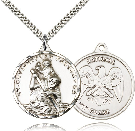 "St. Christopher National Guard Medal, Sterling Silver - 24"" 2.4mm Rhodium Plate Endless Chain"