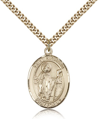 "St. Richard Medal, Gold Filled, Large - 24"" 2.4mm Gold Plated Chain + Clasp"