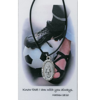 Girl's St. Christopher Soccer Medal with Leather Chain and Prayer Card Set - Silver-tone