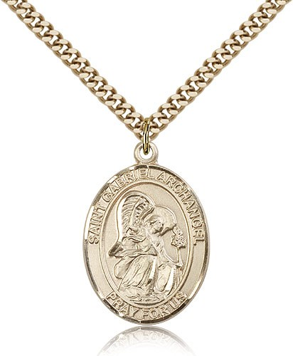 "St. Gabriel the Archangel Medal, Gold Filled, Large - 24"" 2.4mm Gold Plated Chain + Clasp"