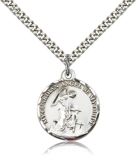 "Guardian Angel Medal, Sterling Silver - 24"" 2.4mm Rhodium Plate Endless Chain"